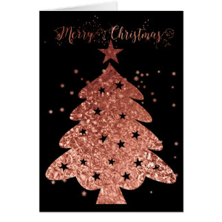 Merry Christmas Pink and Black Glam Card