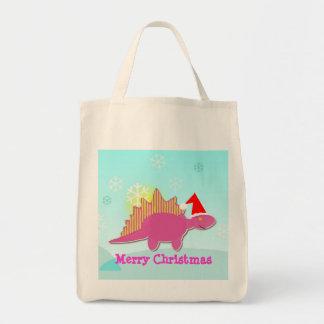 Merry Christmas Pink Dinosaur Stegosaurus Bag Tote