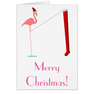 Merry Christmas! - Pink Flamingo Silhouette Card