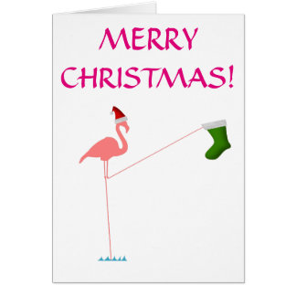 """MERRY CHRISTMAS!"", Pink Flamingo Silhouette Card"