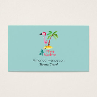 Merry Christmas Pink Flamingo With Palm Tree Business Card