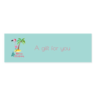 Merry Christmas Pink Flamingo With Palm Tree Gift Pack Of Skinny Business Cards