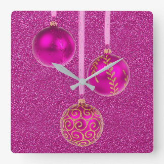 Merry Christmas Pink Glitter Baubles Elegant Square Wall Clock