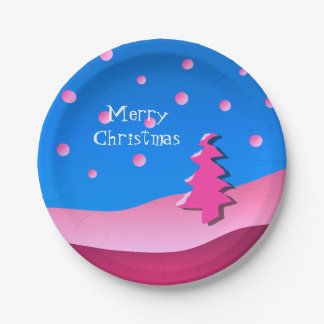 Merry Christmas PINK Tree Paper Plate