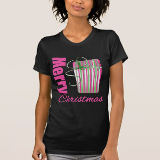 Merry Christmas Pink Whimsical Gift Box T-Shirt