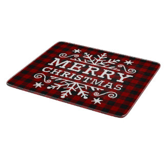 Merry Christmas plaid Cutting Board