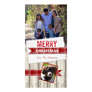 Merry Christmas Plaid Ribbon Picture Card