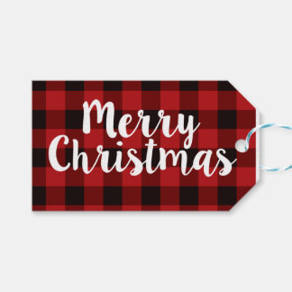 Merry Christmas Plaid | Tags