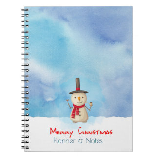 Merry Christmas Planner Snowman Waving And Smiling Notebook