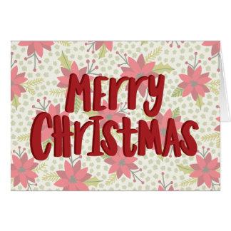 Merry Christmas Poinsettia Holiday Card