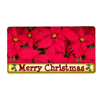 Merry Christmas poinsettia label Shipping Label