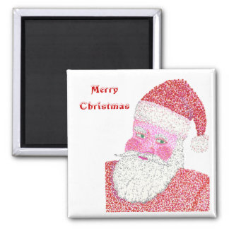 Merry Christmas, Pointillism Santa magnets