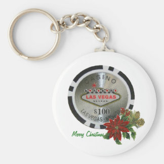 Merry Christmas Poker Chip Keychain