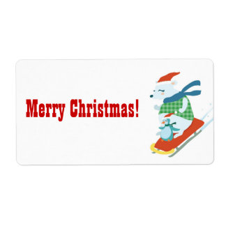 Merry Christmas Polar Bear and Penguin label Shipping Label