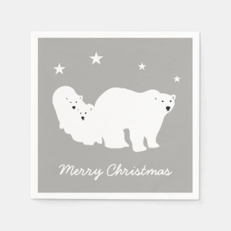 Merry Christmas Polar Bear Napkins Serviettes Paper Napkin