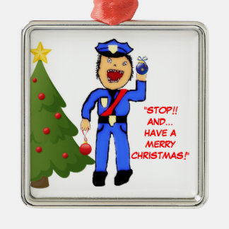 Merry Christmas Police Officer Metal Ornament