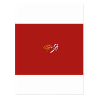 """""""Merry Christmas"""" Postcard Red Candy Cane Simple"""