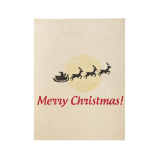 Merry Christmas Poster Design Wood Poster