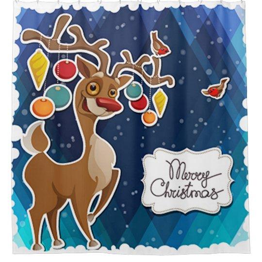 Merry Christmas Prancing Reindeer Shower Curtain