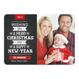 Merry Christmas Preppy Chalkboard 2014 Photo Card