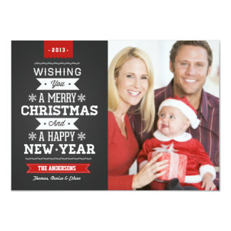 Merry Christmas Preppy Chalkboard Photo Card 11 Cm X 16 Cm Invitation Card