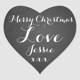 merry Christmas present gift tags labels Heart Stickers