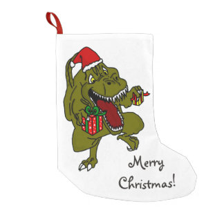 Merry Christmas Present Loving Dinosaur Small Christmas Stocking