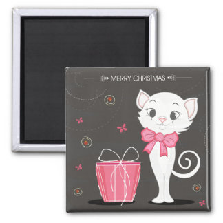 Merry Christmas Pretty White Kitty in Pink Magnet