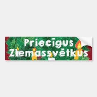 Merry Christmas Priecīgus Ziemassvētkus Bumper Sticker