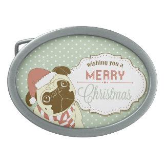 Merry Christmas Pug Belt Buckle