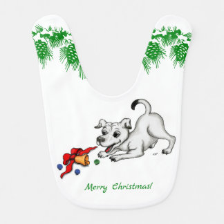 Merry Christmas! Puppy with Bell and Ball Bib