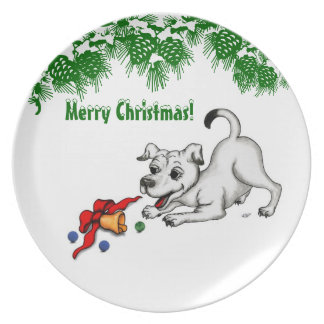 Merry Christmas! Puppy with Bell and Ball Plate