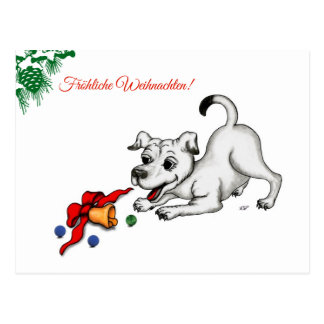 Merry Christmas! Puppy with bell and ball Postcard