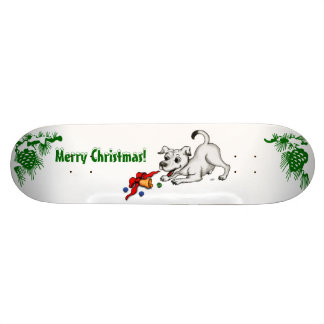 Merry Christmas! Puppy with Bell and Ball Skateboard