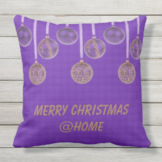Merry Christmas Purple Gold Glitter Baubles Text Cushion