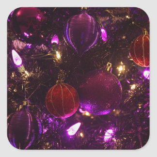 Merry Christmas Purple Ornaments on Tree Stickers