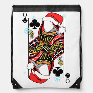 Merry Christmas Queen of Clubs - Add Your Images Drawstring Bag