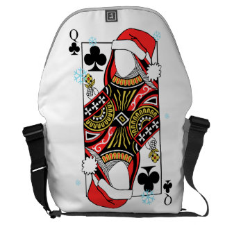 Merry Christmas Queen of Clubs - Add Your Images Messenger Bag
