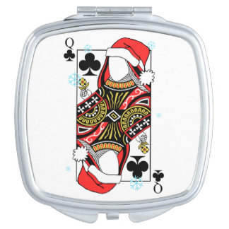 Merry Christmas Queen of Clubs - Add Your Images Mirror For Makeup