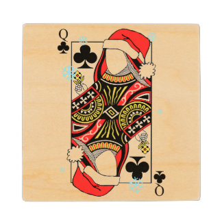 Merry Christmas Queen of Clubs - Add Your Images Wood Coaster