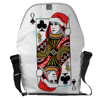 Merry Christmas Queen of Clubs Courier Bags