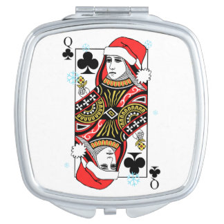 Merry Christmas Queen of Clubs Makeup Mirrors