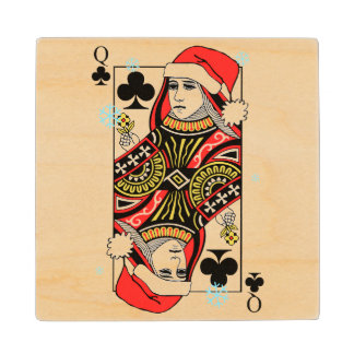 Merry Christmas Queen of Clubs Wood Coaster