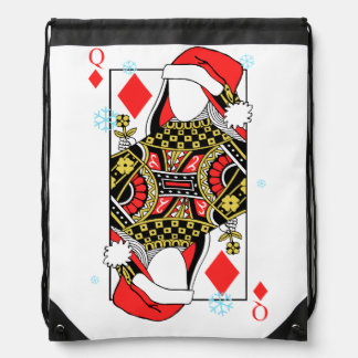 Merry Christmas Queen of Diamonds-Add Your Images Drawstring Bag