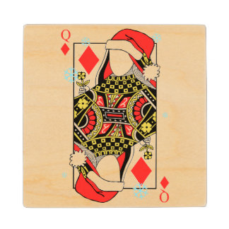 Merry Christmas Queen of Diamonds-Add Your Images Maple Wood Coaster