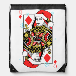 Merry Christmas Queen of Diamonds Drawstring Bag