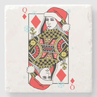Merry Christmas Queen of Diamonds Stone Coaster