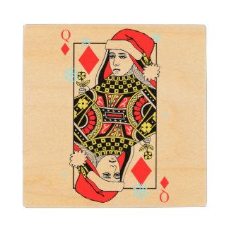 Merry Christmas Queen of Diamonds Wood Coaster
