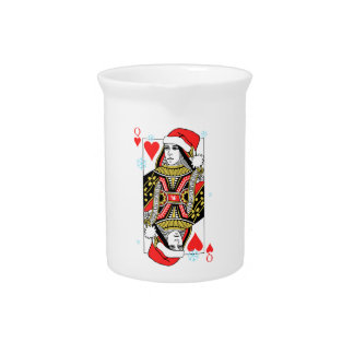Merry Christmas Queen of Hearts Beverage Pitcher