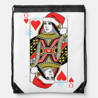 Merry Christmas Queen of Hearts Drawstring Bag